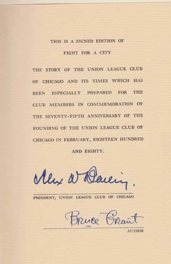 Image for FIGHT FOR A CITY The Story of the Union League Club of Chicago and its Times. 1880-1955