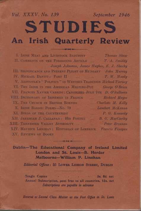 Image for STUDIES. VOL. XXV, NO. 139 An Irish Quarterly Review
