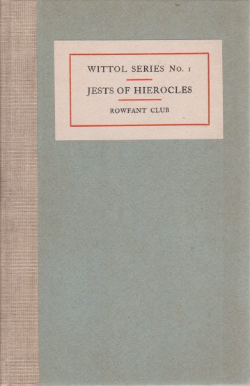 Image for THE JESTS OF HIEROCLES AND PHILAGRIUS. [TWO VOLUME SET] The Adventures of the Gooroo Paramartan