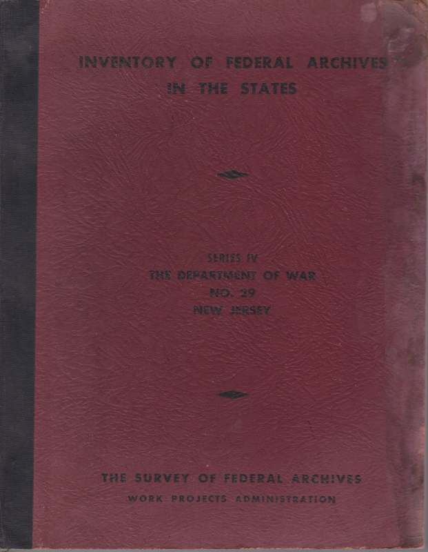 Image for INVENTORY OF FEDERAL ARCHIVES IN THE STATES Series IV the Department of War